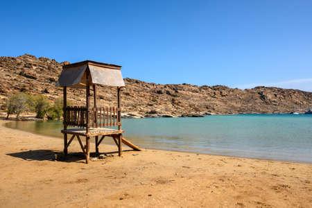 Monastiri beach, beautiful and sandy beach located in a rocky bay. Paros island, Cyclades, Greece