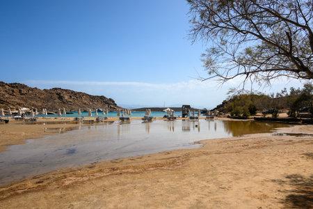 Monastiri beach, a long and sandy beach located in a rocky bay. Paros island, Cyclades, Greece