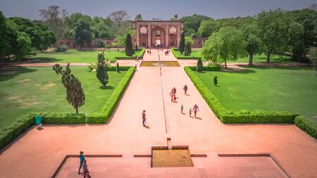 New Delhi  India - April 13 2017: entrance gate view from the Humayuns Tomb in New Delhi, India.