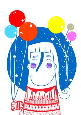 wean: my love balloon girl Illustration
