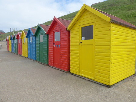 Colourful beach huts, taken in Whitby, Yorkshire.
