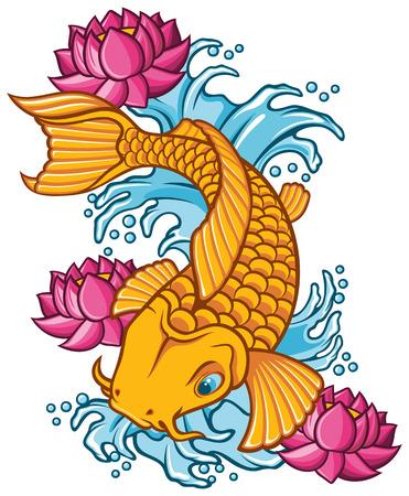 pez carpa: ilustración koi tatuaje de los pescados. Vectores