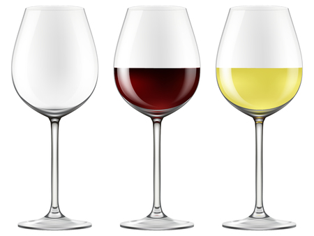 Wine glasses - empty, red wine and white wine. Photo-realistic EPS10 Vector. Vettoriali