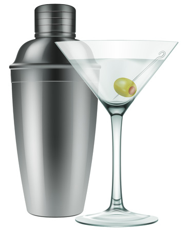 A glass of Martini with olive and a silver shaker. Photo-realistic EPS10 Vector.
