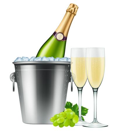 2 つのフルートとブドウの氷バケットにシャンパンのボトル。EPS10 写実的なベクトル。