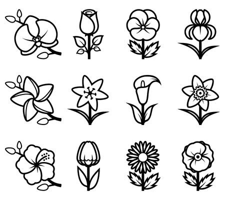 Stylized flowers icon set.