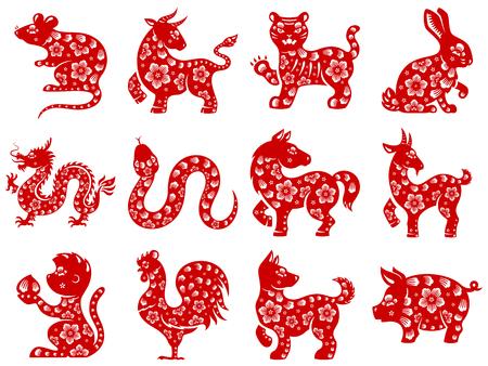 Chinese papercut Zodiac iconen. Vector Illustratie