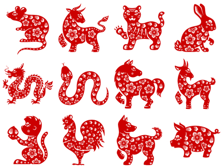 ox: Chinese papercut Zodiac icons.