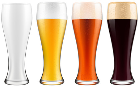 cerveza negra: vasos de cerveza, cuatro versiones - vacías, cerveza ligera, cerveza oscura y cerveza de color ámbar. Ilustración fotográfica EPS10.