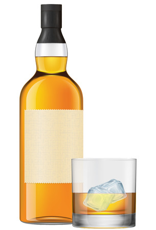 whisky glass: A bottle and a glass of whisky on rocks. Photo-realistic EPS10 vector illustration.
