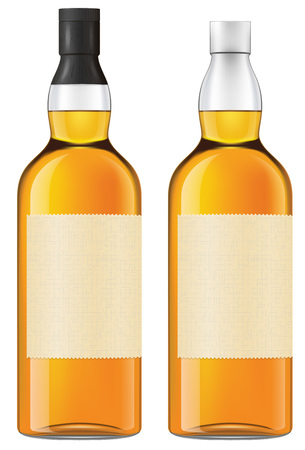 scotch: Bottle of whiskey. Opened and closed versions included. Photo-realistic EPS 10 illustration.