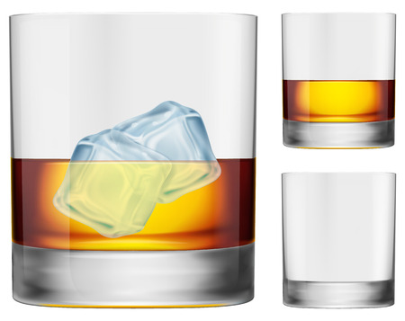 scotch whisky: A glass of whisky. With ice, without ice and empty glass versions included.  Illustration
