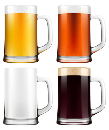 photorealistic: Beer mugs. Photo-realistic EPS10 vector illustration.