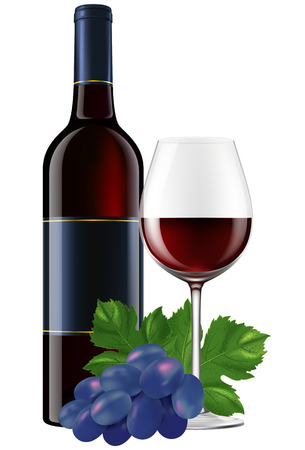 photorealistic: Red wine bottle with a glass and grapes. EPS10 photo-realistic vector illustration. Illustration