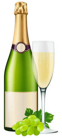 champagne flute: Champagne bottle with a flute and grapes. Photo-realistic illustration.