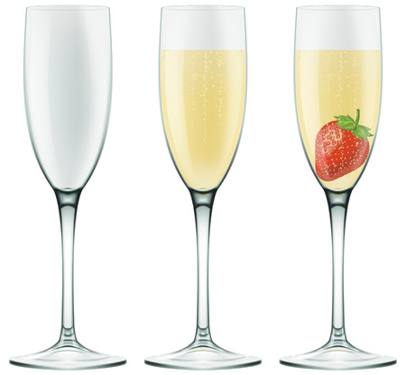 flutes: Champagne flutes. Photo-realistic
