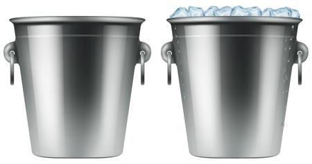 Cubeta de hielo. Ilustración fotográfica.