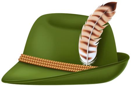 cappello stile Oktoberfest bavarese con una piuma.