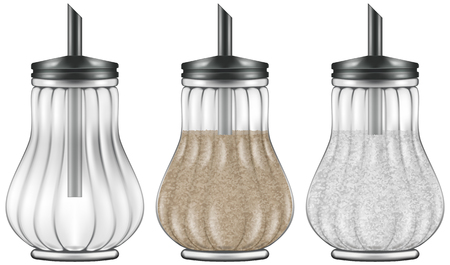 fructose: Glass and steel sugar dispenser in three versions - empty, brown cane sugar and refined white sugar varieties.