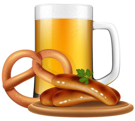 le style Oktoberfest bière tasse, bretzels et saucisses.
