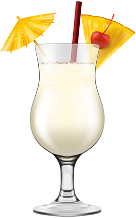 Pina colada glass decorated with cherry, pineapple and cocktail umbrella.