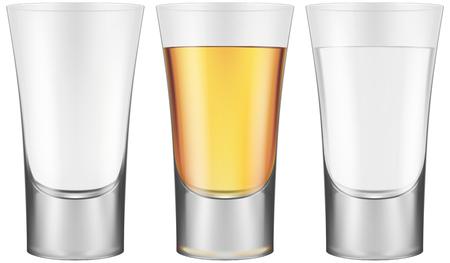 Shot glasses - empty, golden tequila and vodka.