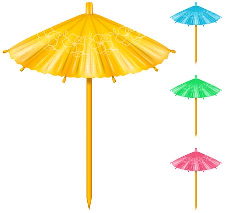 Cocktail ombrello in quattro combinazioni di colori.