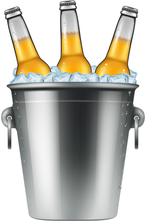 Botellas de cerveza en un cubo de hielo, ilustración vectorial.