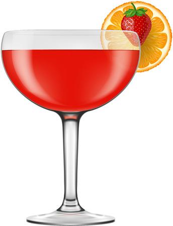 daiquiri: Strawberry Daiquiri, vector illustration. Illustration