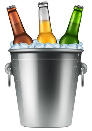 Beer bottles in an ice bucket, realistic vector illustration. Illustration