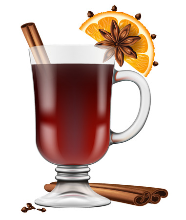 orange peel clove: Realistic looking glass of mulled wine with spices. Vector illustration.