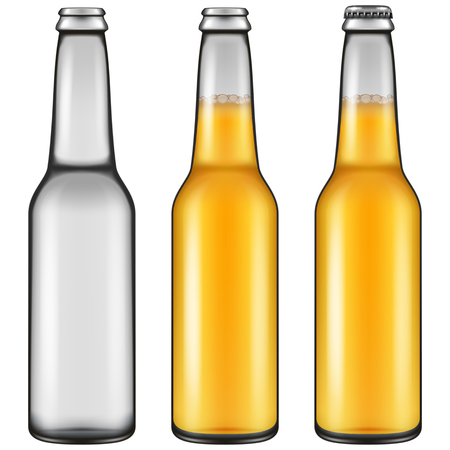 Realistic looking beer bottle illustration - empty, closed full and opened full versions. Vector illustration. Illustration
