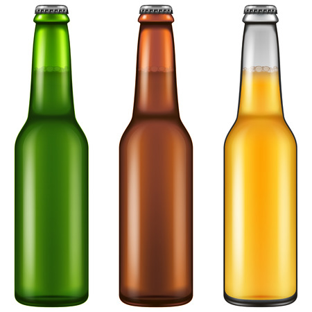 Set of three realistic looking beer bottles. Vector illustration.