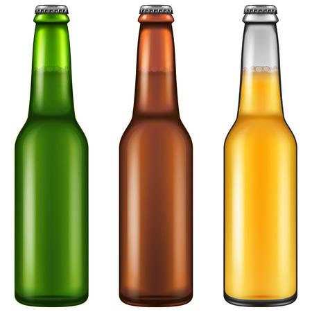Set of three realistic looking beer bottles. Vector illustration.