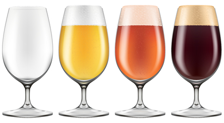 Elegant craft beer glass in four versions for lager, amber ale with an empty one also included. Photo-realistic vector illustration.