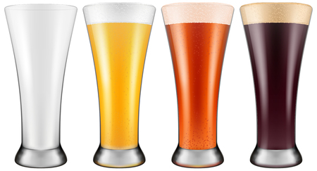 draughts: Beer glass in four color schemes for empty glass, lager beer, amber ale. Photo-realistic vector illustration.