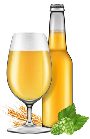 draught: A glass and a bottle of beer with barley and hops. Photo-realistic vector illustration.