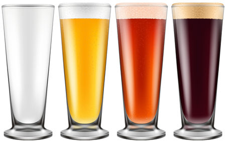 stout: Beer glass in four color schemes for empty glass, lager beer, amber ale and stout. Photo-realistic vector illustration. Vectores