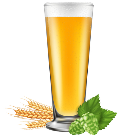 A glass of beer with barley and hops. Photo-realistic vector illustration.