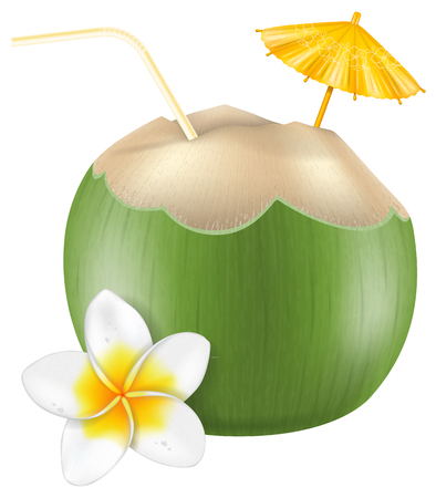 cocktail umbrella: Fresh drinking coconut with a straw, cocktail umbrella and a frangipani flower.
