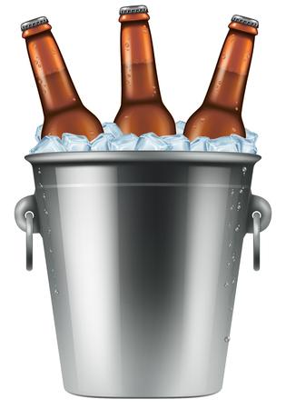 cubo de hielo con tres botellas de cerveza. Fotorrealista ilustración vectorial. Ilustración de vector