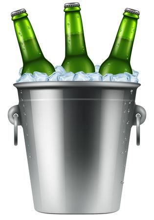 Ice bucket with three bottles of beer. Photo-realistic vector illustration. Illustration