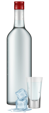 shot glass: Photo-realistic illustration of a vodka bottle, shot glass and a couple of ice cubes.