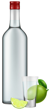 shot glass: Photo-realistic illustration of a vodka bottle, shot glass and lime. Illustration