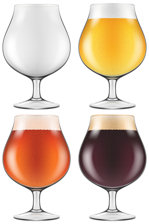 dark lager: Elegant craft beer glass in four versions for lager, amber ale and with an empty one also included. Photo-realistic vector illustration. Illustration