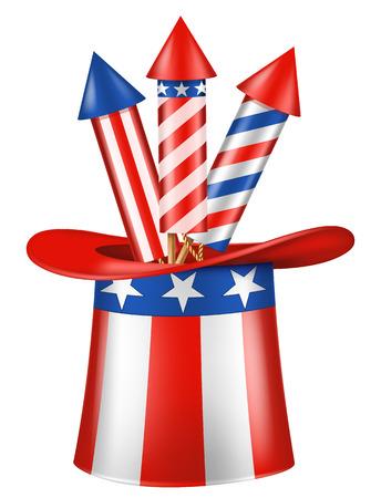 3 발의 로켓을 가진 샘 삼촌 모자. 독립 기념일 벡터 디자인 요소입니다.