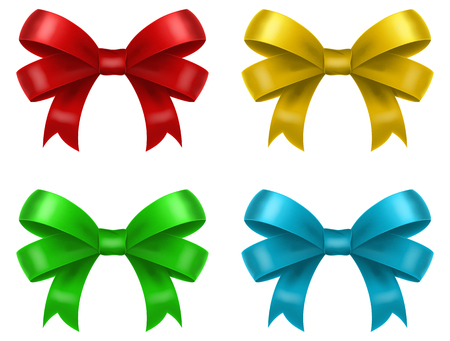 Colored gift bows  ribbons in four color schemes, vector illustration.