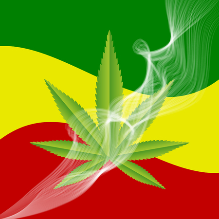 Green medical Marijuana leaf with a smoke and a Rasta flag in the background. Vector illustration. Illustration