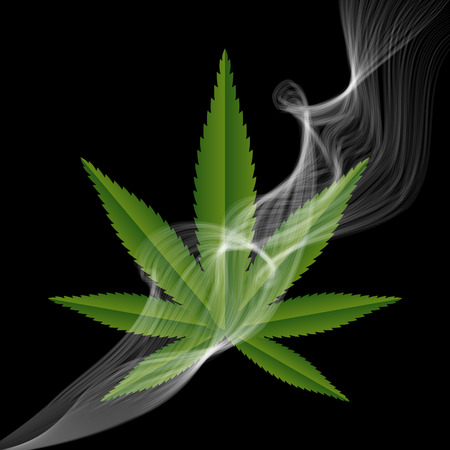 Green medical Marijuana leaf with a smoke. Vector illustration. Illustration