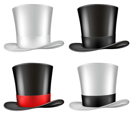 three quarter: Top hat illustration, three quarter view in four color schemes.